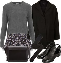 Untitled #6 by thetailoredtrend featuring TopshopUnique  top / Topshop coat / Zara skater skirt / A|X Armani Exchange black tight / Topshop ...