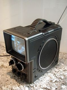 Vintage Hitachi 1980 Portable Television Sci-Fi Retro Electronics Collectible Housewares 80s Home Decor Black and White Unusual Gifts