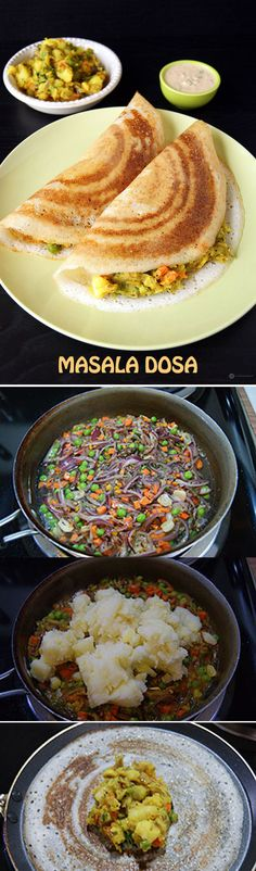 Masala Dosa - The King of Dosa and South Indian breakfast. It is a savory crepe made from a fermented batter of rice and dal with a delicious potato filling.