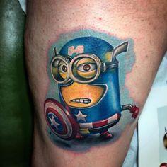 Captain America Minion Tattoo ~ Tattoo Geek - Ideas for best tattoos Arm Tattoos, Life Tattoos, Sleeve Tattoos, Cool Tattoos, Tattoo Arm Designs, Full Sleeve Tattoo Design, Minion Tattoo, Captain America Tattoo, Minions Love