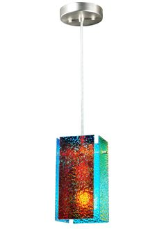7 Inch W Metro Fusion Fire And Ice Granite Quadrato Mini Pendant. 7 Inch W Metro Fusion Fire And Ice Granite Quadrato Mini PendantFor a captivating look in residential, retail and hospitality settings, Fire & Ice highlights multiple micro-layers of metallic coated art glass that reflect Blue undertones and transmit Red overtones surrounding a blown glass cylinder. Dating back to the 4th century AD,dichroic glass displays different colorations depending on how the wavelengths of light pass…