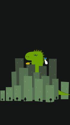Cute Dinosaur Wandering In Cities #iPhone #5s #Wallpaper