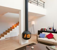 Wand- Kamin aus Stahl mit Panoramafenster EDOFOCUS 631 By Focus creation Design Dominique Imbert Interior, Wall Mounted Fireplace, Home, Contemporary Fireplace, Living Room Remodel, Wood Fireplace, Open Plan Kitchen Living Room, Log Burner Living Room, Suspended Fireplace