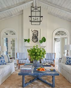 Phoebe Howard's project in Palm Beach, Florida as seen in Veranda magazine Beach Living Room, Cottage Living Rooms, Coastal Living, Palm Beach Decor, Chatham House, Chic Beach House, Veranda Magazine, Florida Home, Coastal Style