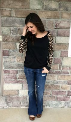 leopard top, flare j