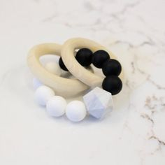 Silicone & Wood Black White & Marble Teether