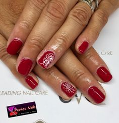 #biosculpturegel #nails #wildatheart #red with #white #stamping #design #paphosnails #biosculpturebytheresa #healthynails #pafos