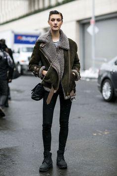 Model off duty look - love the jacket!