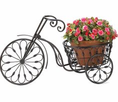 Single Plant Stand Traditional Metal Bike Decorative Gardening Ideas   Nostalgic styling blooms to life when you add your favorite plant to this whimsical stand. Wrought iron curlicues form the shape of an old-fashioned bicycle from bygone days. Weight 3.4-pound. Iron. Plant not included. Some Assembly Required 20 3/4-inch by 10-inch by 14-1/8-inch high; plant basket: 10-inch diameter.