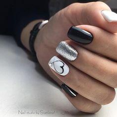 Kinds of Makeup Nails Art Nail Art 134 - Nails - # MakeupNä . , types of makeup nails art nail art 134 - nails - # Makeup nails # nails New Nail Designs, Black Nail Designs, Heart Nail Designs, White Nails With Design, Nail Polish Designs, Pretty Nails, Fun Nails, Love Nails, White And Silver Nails