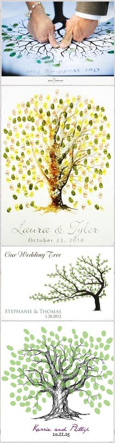 "Love the Wedding Tree~The tree starts w/ the bride and groom adding their fingerprints in the middle of the ""tree"" and then the tree ""grows"" leaves during the reception as each guest adds their leaf (fingerprint) to the tree! The trees are amazing at the end of the reception~once matted and framed it's a great gift for any couple!:"
