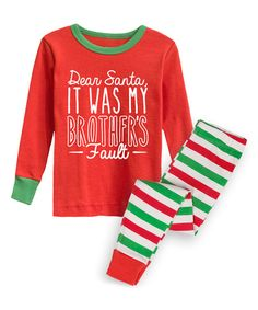 Make your little one's holiday season comfy with these ultra soft pajamas with candy-stripe pants and a festive graphic top.   For child's safety, garment should fit snugly. This garment is not flame resistant.