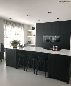 How To Incorporate Contemporary Style Kitchen Designs In Your Home White Kitchen Cabinets, Wooden Kitchen, Rustic Kitchen, New Kitchen, Kitchen Decor, Kitchen Black, Black Cabinets, Kitchen Layout, Kitchen Backsplash