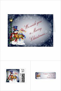 Snowman Couple Caroling Christmas Collection