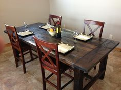 I show photos and instructions on how to build a beautiful farm table out of pine boards that any DIY'er can make. It turned out great and turns many heads!