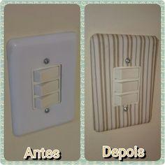 Personalizando espelho de interruptor #artesanato #artecomtecido #fazendoarte #diy