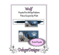 Bead Pattern Peyote(Pen Wrap/Cover)-Wolf
