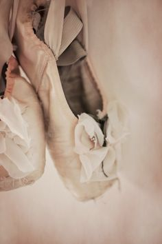 Pointe - Delicate pink ballet shoes.