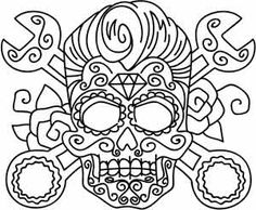 Rockabilly Skull with wrenches. Love the wrenches and the Pomp, not so sure about the diamond...