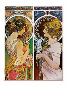 ART NOUVEAU ~ Alphonse Mucha. These are two separate works.....beautiful and fashionable women ~ place together as a customized easy-to-hang 8×10 print. ~ Conveniently sized to fit a standard 8×10 picture frame : (MAT & FRAME ARE NOT INCLUDED). Finished art is sized as noted w/ white border to facilitate matting/mounting. ~ Printed on linen-textured fine-art matte photo paper for a soft, quiet, light-absorbing surface. ~ Printed using only archival, pigment-based inks; for lasti...