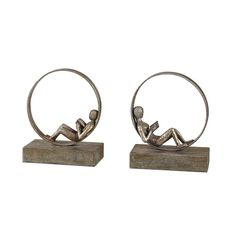 Uttermost Lounging Reader Antique Bookends Set/2 (£115) ❤ liked on Polyvore featuring home, home decor, small item storage, antique bookends, antique home decor and antique book ends