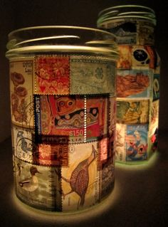 Stamp Lamp upcycled glass jar tealight candle holder by LuniqueUK on etsy.