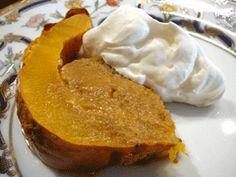 Pumpkin Custard cooked inside a pumpkin with Fresh Whipped Cream
