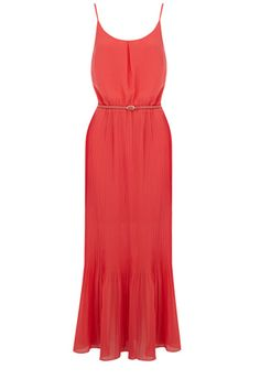 This maxi dress has split detailing to the sides and a pleated skirt. With a belt to the waist, this piece has spaghetti straps and a rounded neckline.