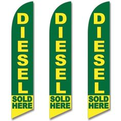 Windless Swooper Flag 3 Pack DIESEL SOLD HERE Yellow & Green #EHTFlags