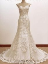 I pretty much love everything about this dress. - Vintage Trumpet/Mermaid A LINE Lace Wedding Dress Preloved Wedding Dresses, Wedding Dresses For Sale, Wedding Dress Trends, Cheap Prom Dresses, Wedding Dress Styles, Trendy Dresses, Designer Wedding Dresses, Girls Dresses, Bridal Boutique
