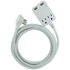 General Electric 32177 2-Outlet Grounded Indoor Extension Cord with 2 USB Ports, 8ft