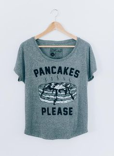 Pancakes Please Women's Slouchy Breakfast Brunch Foodie T-shirt Tee Top