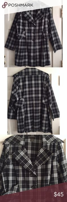 "Plaid Trench Coat LANE BRYANT / Plaid Trench Style Coat - Plus Size 22 - Black and white check plaid - 3 button front closure - Slightly A-line with built in bands at waistline create hourglass silhouette - Wide lapels - 67% Polyester / 32% Rayon / 1% Spandex *Very small {1.5""} of fraying on back middle collar as seen in photo ✅ Only worn once  ✅ NO trades / NO low-balling ✅ List price is fair and highly discounted✌️ Lane Bryant Jackets & Coats Trench Coats"