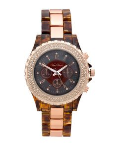 Sparkling tortoiseshell and rose gold links watch.