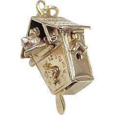 Vintage Mechanical Charm 14k Gold ~ Cuckoo Clock circa 1950's..