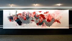 "Katherine Mann, Weft, 2011  Acrylic and sumi ink on paper  62"" x 25'"