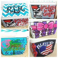 Custom Painted Cooler- Small 9quart   *love the monogram on top and the sweet sassy and classy on the side!! ( maybe the state of Texas instead of a peach ) then Texas state or a yellow rose and a Texas quote on the side)