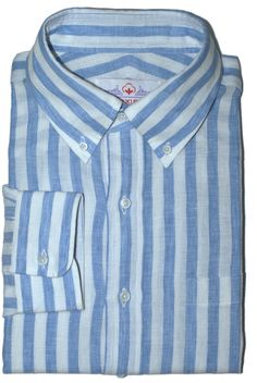 Blue Tape Stripes Linen - Bespoke Shirts by Luxire. Custom made to Perfection