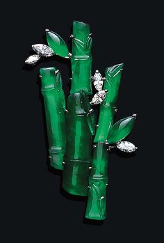 Cool, calm Bamboo Grove brooch of Jadeite & marquise Diamonds. no Maker/Date info provided