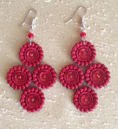 Red lace earrings Sequin earrings Gift for her by NewCreativeBliss, $11.00