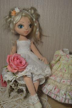 Купить Милена - бледно-розовый, шебби-шик, текстильная кукла, авторская кукла, шарнирная кукла ♡