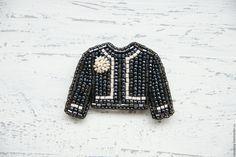 Купить Жакет Брошь Брошка из бисера 'Jacket For A Lady' (black). - красивая брошь
