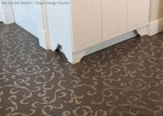 Stenciled floor by Inspire me Heather | Sea Scrolls Stenci by Royal Design Studio