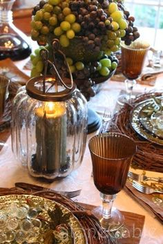 5 TIPS FOR A BEAUTIFUL CENTERPIECE.. Part II in a tablescaping series  Use fruit and vegetables, they are beautiful in leiu of flowers or in combination.  The fall gords and pumpkins last for weeks