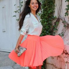 Coral Skirt - I love the color and shape of this skirt. This would look perfect with a cute heel!