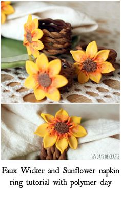 Faux wicker and sunflower polymer clay tutorial to make beautiful napkin rings for your fall tablescape. The Effective Pictures We Offer You About Polymer Clay Crafts fall A quality picture can tell y Polymer Clay Ring, Polymer Clay Projects, How To Make Sunflower, Diy Craft Projects, Diy Crafts, Clay Birds, Clay Flowers, Acrylic Flowers, Clay Tutorials