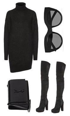 """black over black"" by barbara-castilla ❤ liked on Polyvore featuring Alice + Olivia, Acne Studios, Yves Saint Laurent and Le Specs"