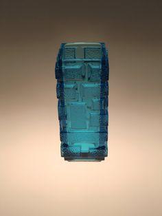 Česká Bohemian Rudolfova Huť Art Glass Modrá váza Jiřího Zejmon