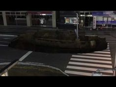 11/08/2016 - The road collapsed in front of Hakata station. - YouTube