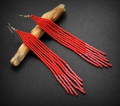 Украшения из бисера от Anabel: Длинные красные серьги из бисера. Бижутерия ручной...